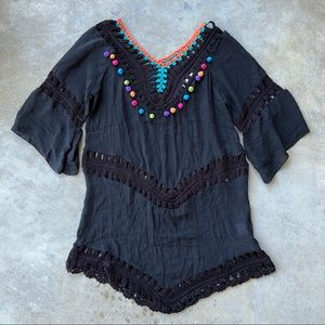 BEACH BY EXIST Swim Coverup Crochet Pom-pom Size S